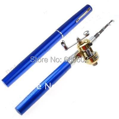 Blue/Red/Silver Mini pocket fishing rod Pen ,fish pole,rod /1m Golden reel