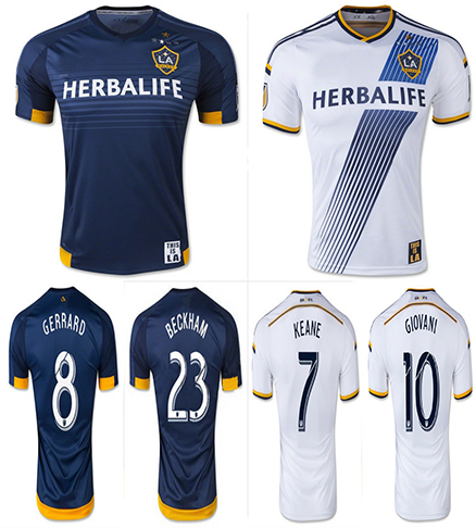 Best Thailand Quality 2015 2016 Los Angeles Galaxy soccer jersey home away GERRARD KEANE Jersey 2015 LA Galaxy jersey BECKHAM(China (Mainland))