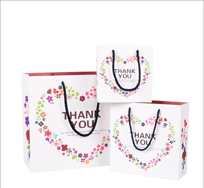 10pcs Small Size Paper Bag With Hand Made New Fine Birthday Holiday Rope gift bag White 14.5*7*15.5cm(China (Mainland))