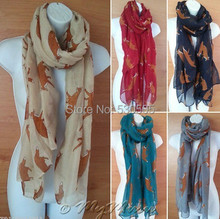 FOX Print Scarf Celebrity Casual Fashion Scarves Large Shawl Brown Animal Wrap