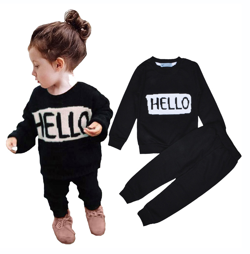 wholesale autumn Baby boys clothes set Hello Bye letter Long sleeve top+black pants Brand sports Boys Girls kids clothing set<br><br>Aliexpress