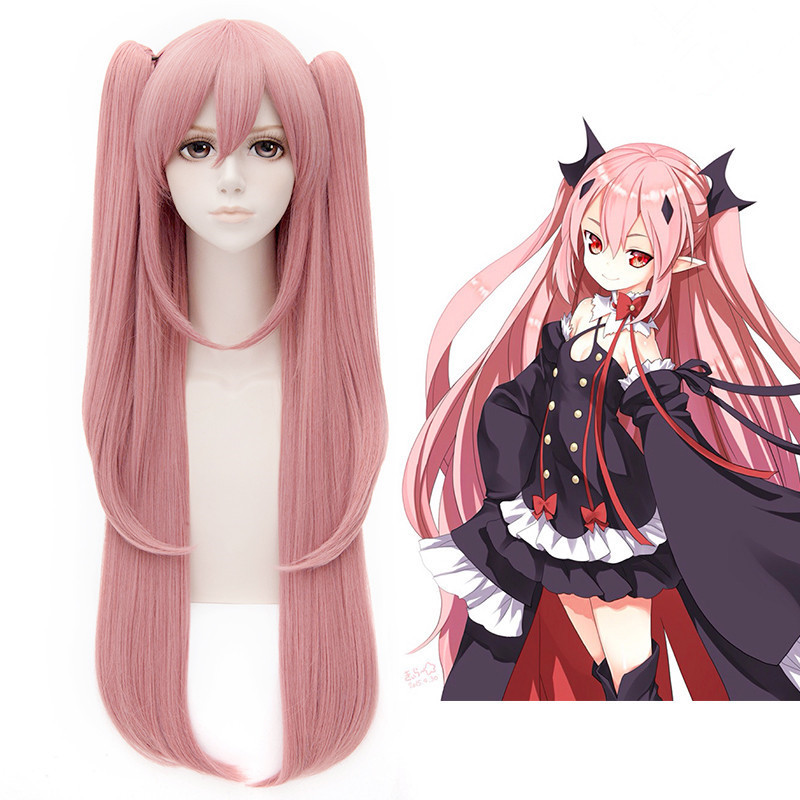 Гаджет  Free Shipping 100cm Long Straight Pink Seraph of the end Cosplay Hair wigs Krul Tepes Wig Synthetic Anime Cosplay Ponytails Wig None Волосы и аксессуары