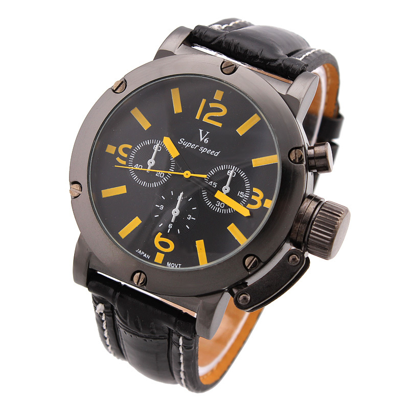 V6 Men Business Waterproof Watch Stainless Steel Case Round Dial Sports 2016 Fashion Wristwatches PU Band Analog Wathes LRY03(China (Mainland))