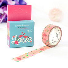 Buy 20 pcs/lot DIY Japanese Paper Decorative Adhesive Tape Cartoon Summer Flamingo Washi Tape/Masking Tape Stickers Size 15mm*7m for $19.90 in AliExpress store