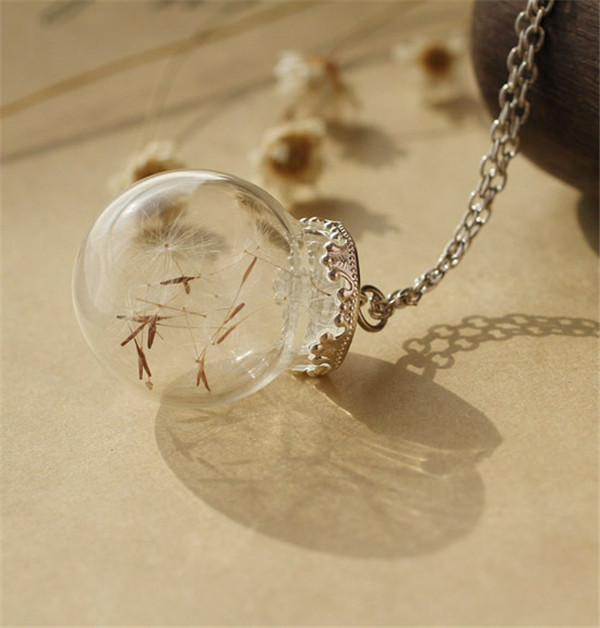 Women Handwork DIY Dandelion Seeds Necklace Botanical Pendant Tiny Glass Orb Eco Friendly Long Necklace(China (Mainland))