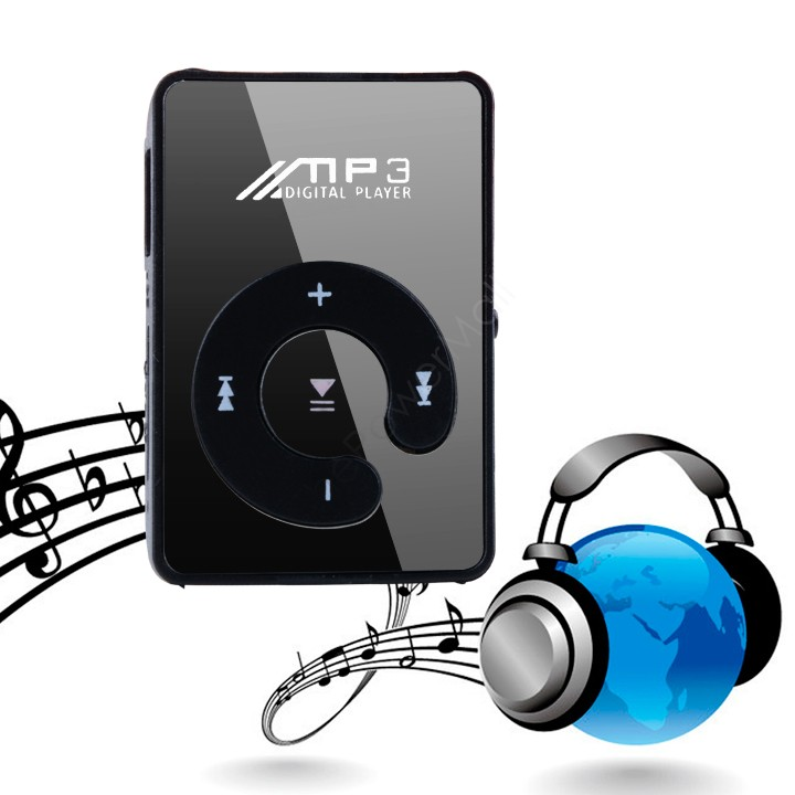 2014 NEW Free Shipping Mini Clip Mp3 Player/sport Mirror Mp3 SD/TF card C Button MP3 Music Media Black 51(China (Mainland))