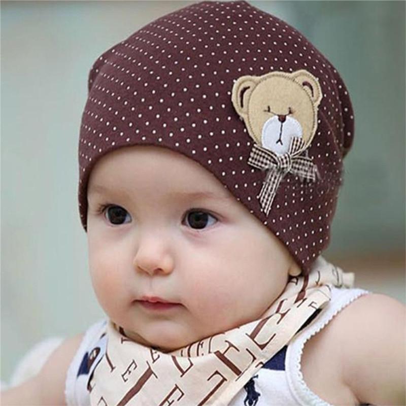 Baby Hat Lovely Bear Cotton Toddler Cap Dot 2016 Kids Dots Beanies Children Infant Costume Spring Winter Head Accessory