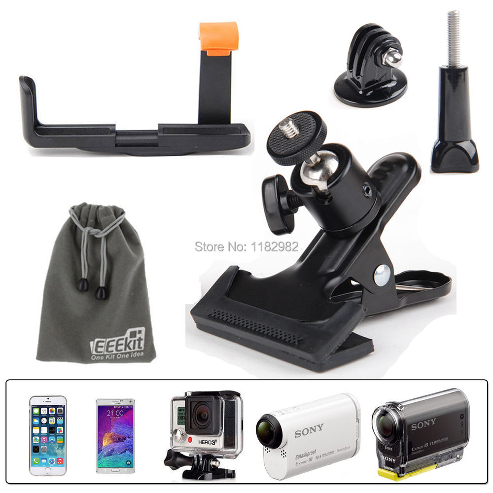 Clip Clamp Mount + phone holder for GoPro Hero 4 3+/Phone/S Cam HDR-AS15/20/30v/100v(China (Mainland))