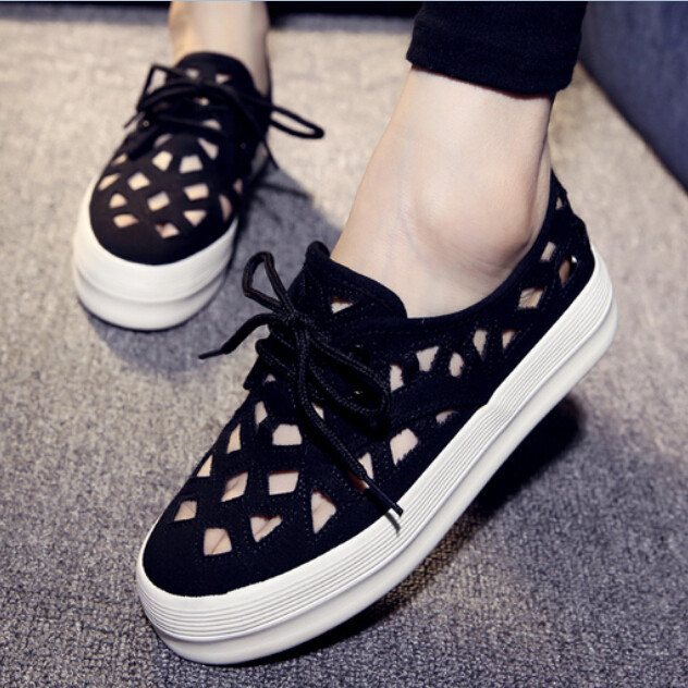 2015 New Summer Breathable Cut Out Women Sneakers Platform Woman Canvas Shoes Lace Up Trifle Shoes
