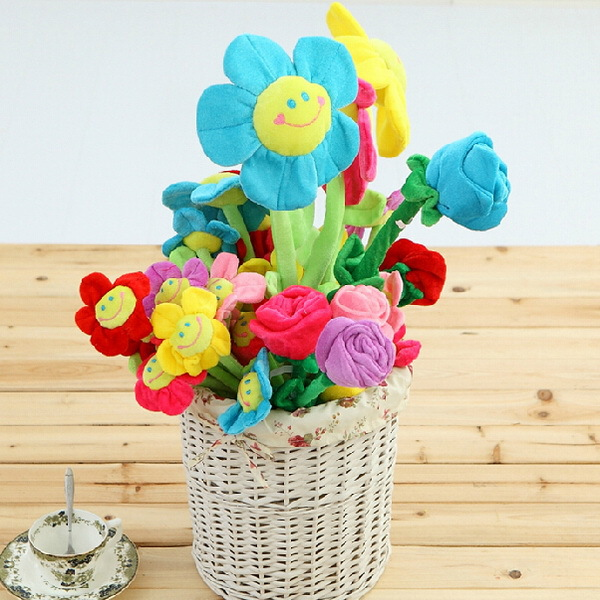 2015 DIY Beauty 65cm Kids Stuffed Plush Plants Toys Curtain Clip Sunflower Plush Toys Bouquet Doll Flowers Baby Kids Bed Toys(China (Mainland))
