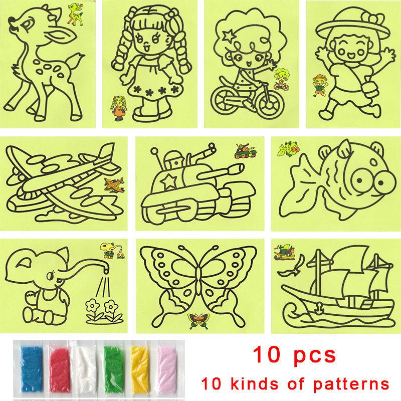 10pcs Cartoon DIY Color Sand Painting 10 kinds of Patterns Kids Intelligence Education Tools Art Drawing Study Fun Toys Gift(China (Mainland))