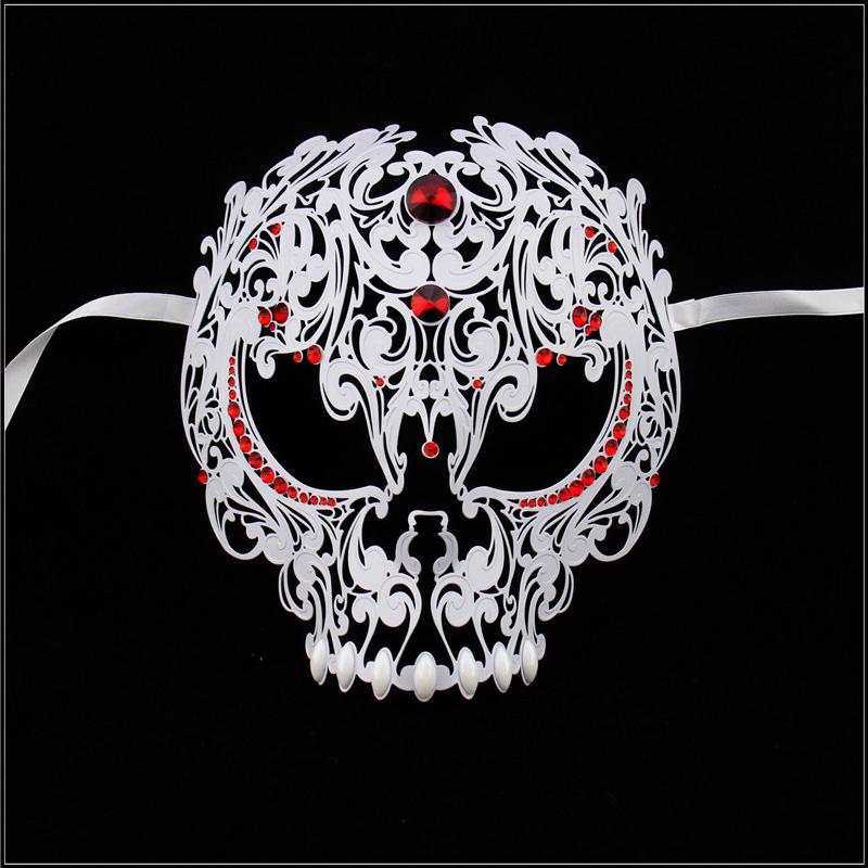 Venetian Skull White Metal unique design red rhinestone Masquerade Mask white Silk Ties Full Face Skull Mask MG004-RWT(China (Mainland))