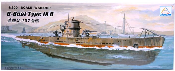 hobby gift 30CM Battleship 1/200 scale WWII German Navy U-107 submarine electric assembly model military model warship model kit(China (Mainland))