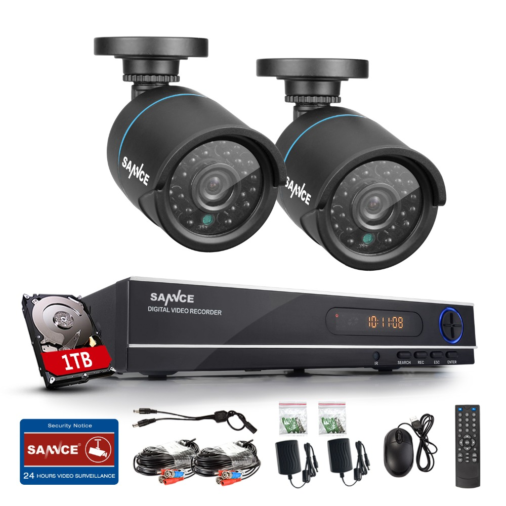 SANNCE HD 1080N 8CH home CCTV camera security system 1.0MP 720P 2PCS Video Surveillance Camera IR cut outdoor with 1TB hard disk(China (Mainland))