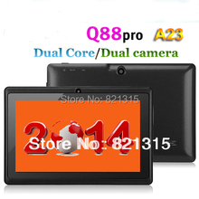 Q88 pro allwinner A23,Dual core Q88 tablet pc, android 4.2 Q88,1.5GHz RAM DDR3 512MB ROM 4GB Dual Camera WiFi OTG Free shipping