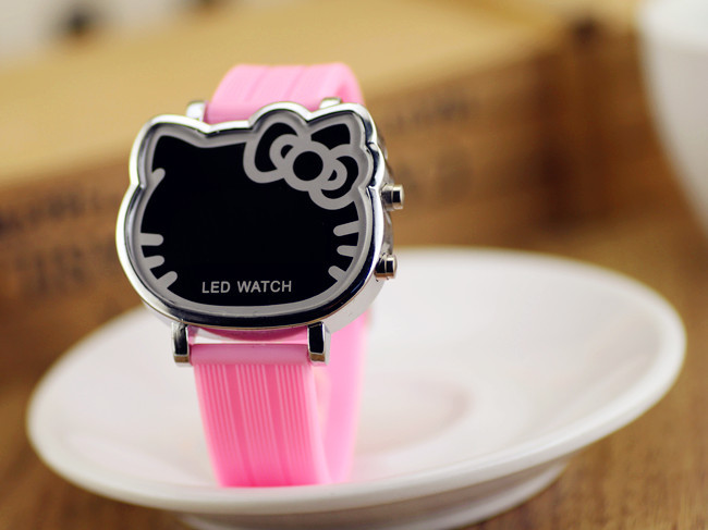 Cheapest on AliExpress ! 9 colors led cartoon watch, cute hello kitty watch, kids silicone relogio infantil digital clock girls(China (Mainland))