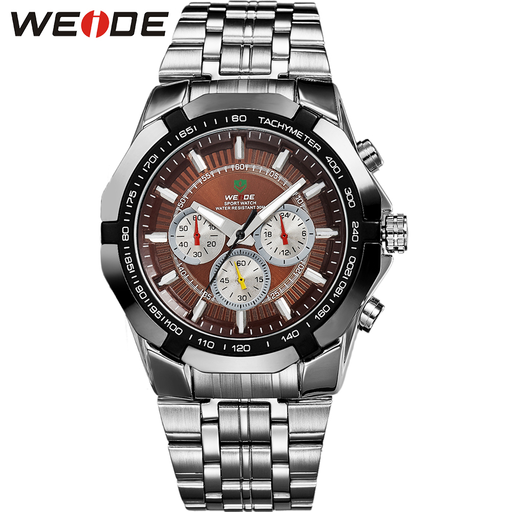 Limited! WEIDE Men's Watches Military Full Steel Quartz Luxury Famous Brand Men Watch Online New 30 Meters Waterproof Wristwatch(China (Mainland))