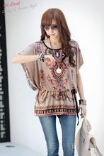 Ethnic costumes 2015 Summer Casual Plus size Bohemia Styles Womens Tops Short Sleeve Tees Batwing Sleeve Women Printed(China (Mainland))
