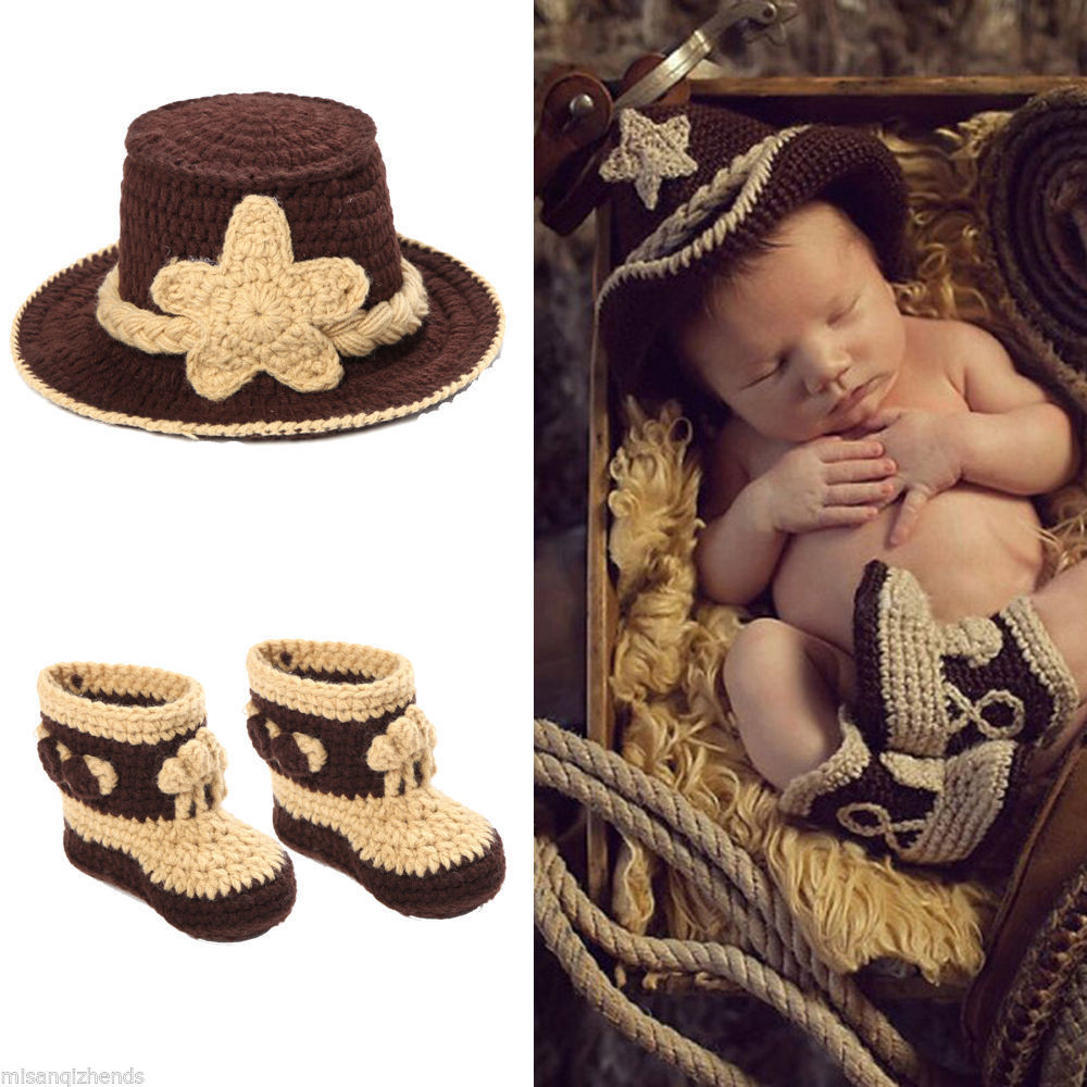 Latest Western Cowboy Baby Crochet Hat&Booties Set Infant Modelling Clothes Sets Baby Boy Photo Props 1set MZS-14026(China (Mainland))
