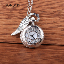 Buy Shining Silver Pocket Watch Mini Carving Wings Vintage Quartz Pocket Watch Necklace Chain Pendant watch Gifts Relogio De Bolso for $2.84 in AliExpress store