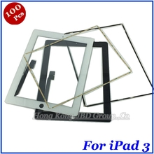 DHL Free Shipping 100 Pcs/lot Screentouch Digitizer Panel For iPad 3 4 With Middle  Bezel Frame Touch Screen Replacement