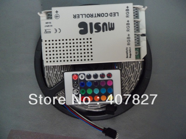 IR Music Controller Sound Sensitive 108W 9A DC12V + 15M LEDStrip RGB SMD3528-60led/M Waterproof IP65+DC12V 2A EU Plug Power
