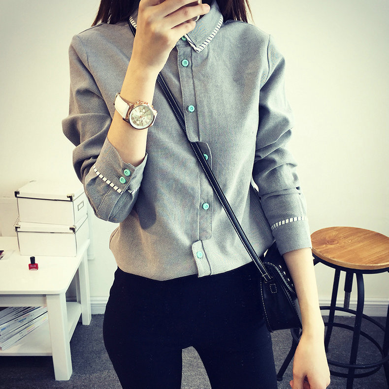 Novelty fashion cross placket long sleeve lapel cotton shirt women spring autumn striped lace blouse white and grey ladies tops(China (Mainland))