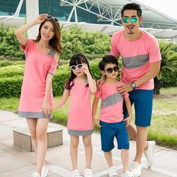 Мода семья установить специальный платья для матери дочь семья футболка одежды для отца сын ( розовый / серый ) CP56a