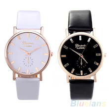 Men's Women's Fashion Geneva Faux Leather Band Analog Quartz Wrist Watch