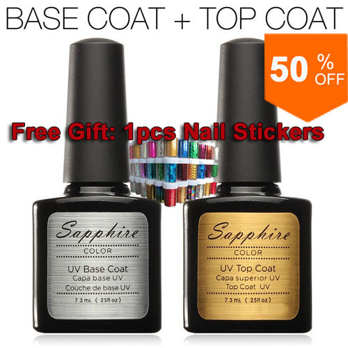 2pcs/lot Sapphire Diamond Nail Gel Top Coat Top it off + Base Coat Foundation for UV Gel Polish 7.3ml #24004(China (Mainland))