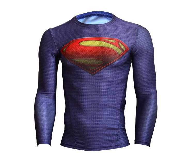 New men sports compressed t-shirts men fitness long sleeve superman/batman t shirt clothing compression tights esporte camisetas(China (Mainland))