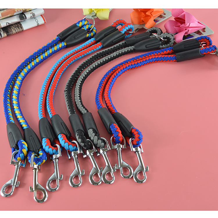 100% High Quality Strong Nylon Pet Product Round Rope Pet Double Leash Leads for Large Medium Dogs(China (Mainland))