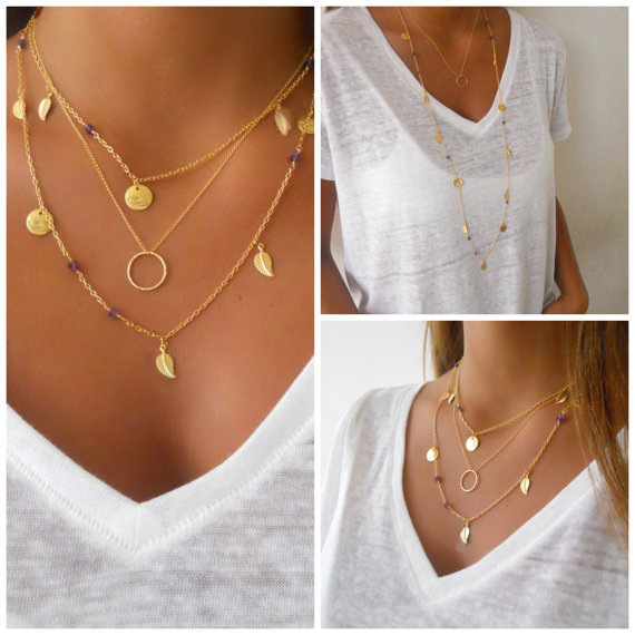 2015 New Fashion Statement Metal Chain Multi layers Sequins Sexy Choker Necklace for Love Lucky Gifts
