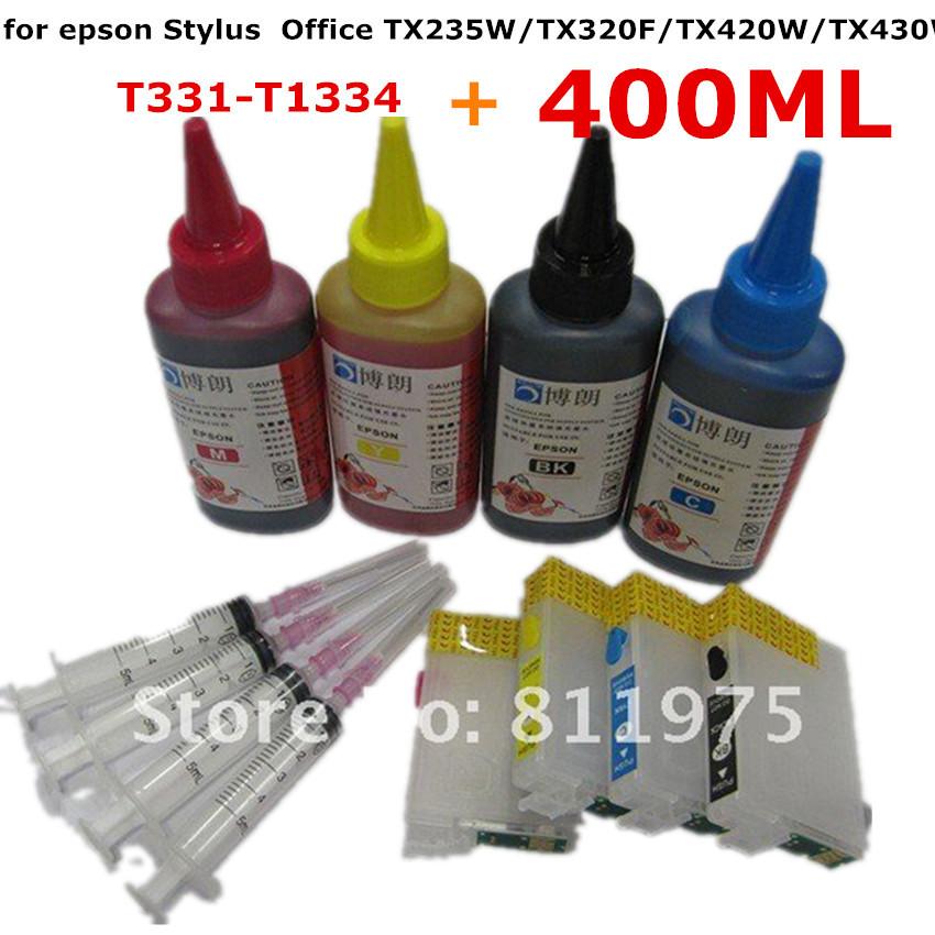 T1331 -T1334 Refillable ink cartridge for EPSON Stylus Office TX235W/TX320F/TX420W/TX430W Printer + for EPSON Dey ink 400ML