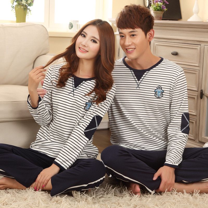 100% cotton lovers sleepwear autumn long-sleeve women's male at home service autumn full cotton lovers lounge(China (Mainland))