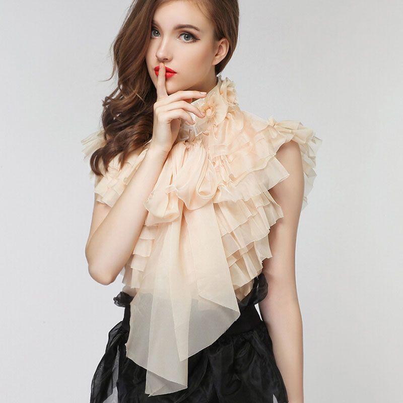 H&Q 2015 new runway summer fashion brand sweet vintage girl ladies royal court princess bow chiffon ruffles blouse shirt S,M,L(China (Mainland))