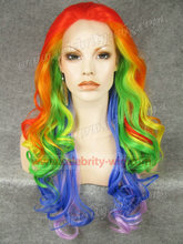 N5-TF2316/T2104/TF2605/T2512B/TF2403A Rainbow Color long wavy new style top quality synthetic lace front wigs Cosplay wigs