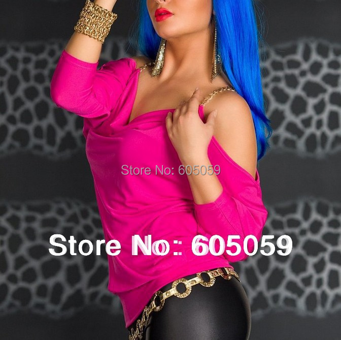 One Piece Fashion Women Shirts sexy jackets tops Sexy Club Wear Clothing For Party 18K Gold Chain Slip uwc109(China (Mainland))