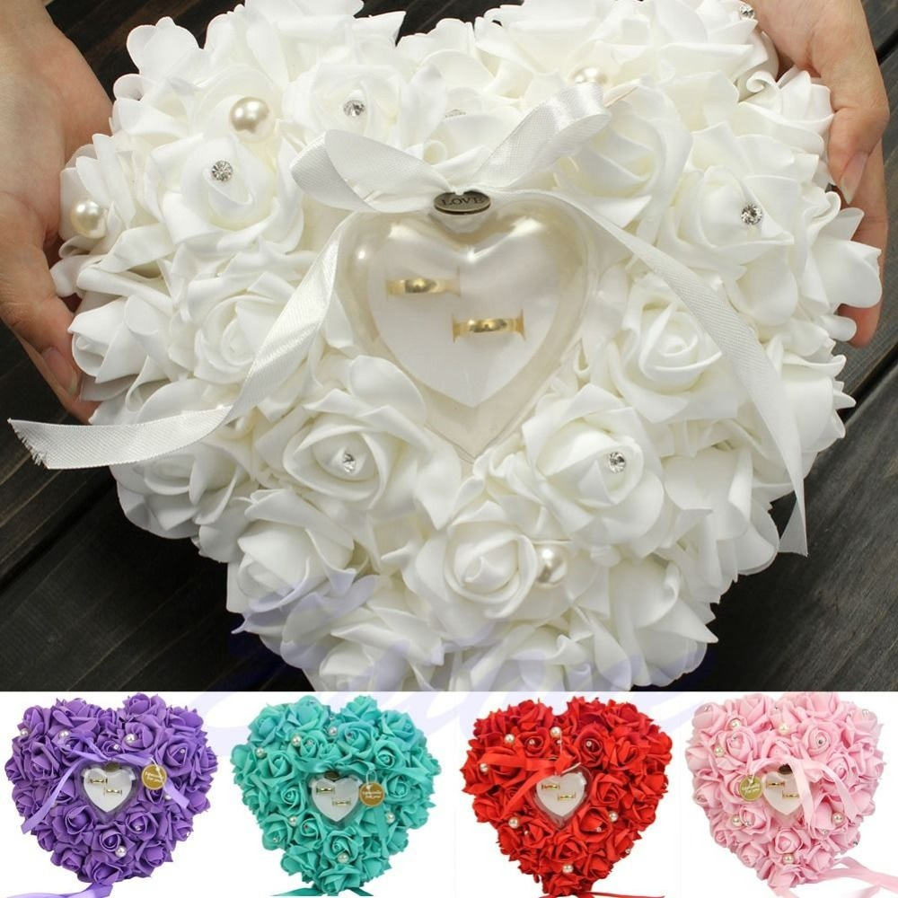 Free shipping NEW Elegant Rose Wedding Favors Heart Shaped Design Gift Ring Box Pillow Cushion(China (Mainland))