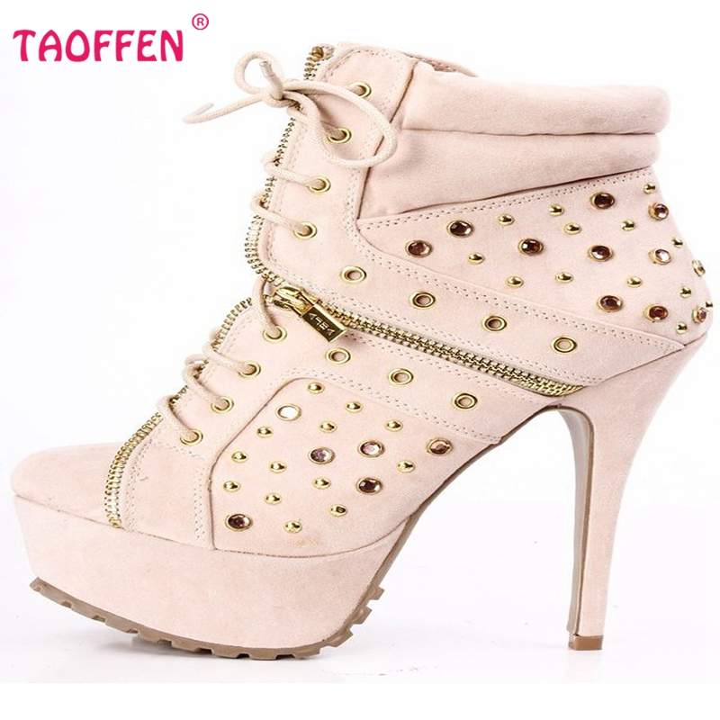 Фотография Lady High Heels Boots Lace Up Zipper Botas Platform Shoes Women Sexy Rivets Pary Casual Boots Heeled Footwear Size 35-46 B009