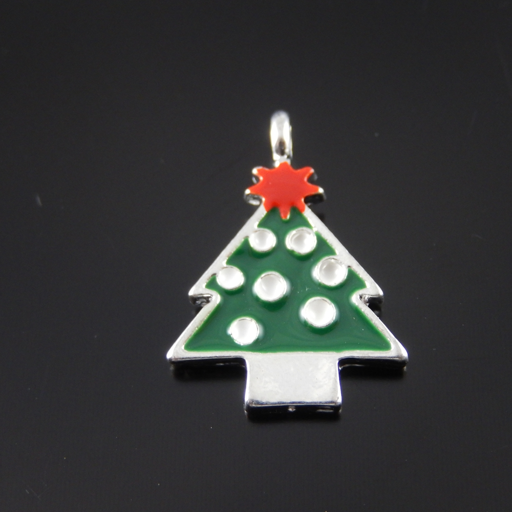 10PCS Multi-Color Christmas Tree Charms Alloy Pendant Jewelry Necklace Phone Key Chain Accessory Xmas Tree Hanging Decoration(China (Mainland))