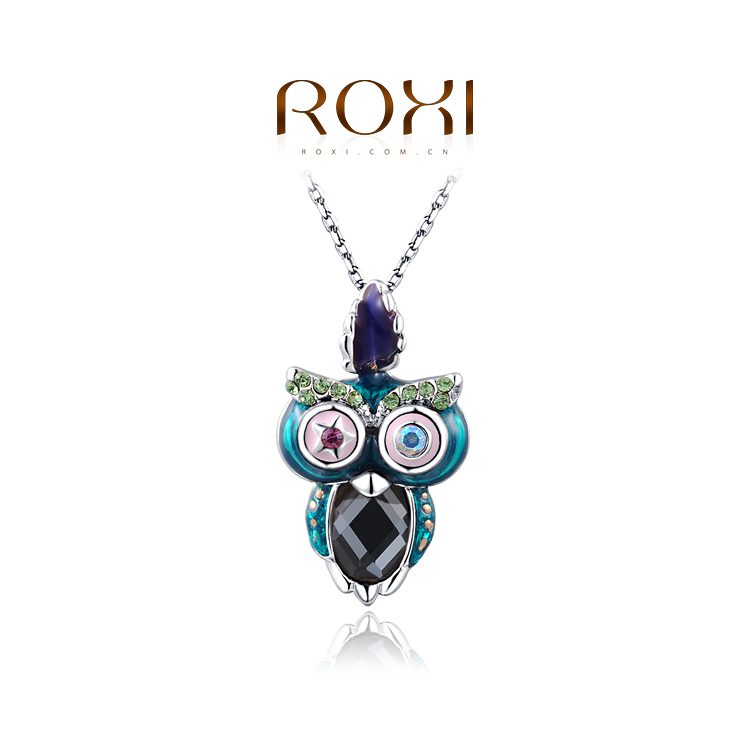 1PCS Free Shipping White gold plating Fashion Owl Necklace with Austrian Crystal Women Jewelry Wholesale
