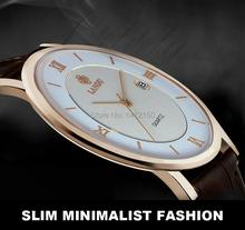 Nuevos amantes de moda ' reloj, caballeros de cuero del cuarzo relojes par comercio impermeable, caso delgado estupendo 6 mm, envío gratis