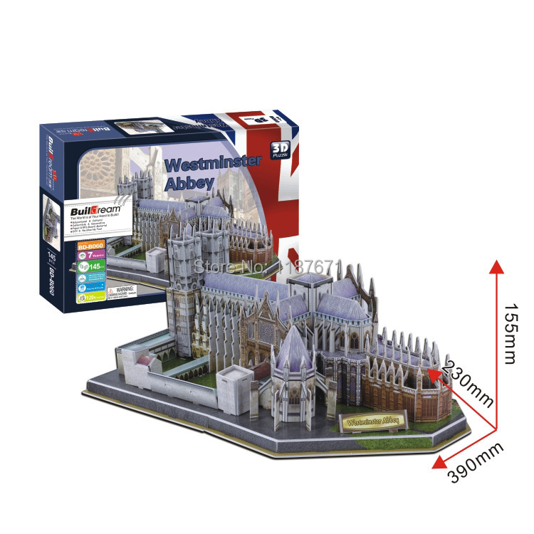 Paper Model Diy  Westminster Abbey Enlighten Blocks Construction Educational playmobil Toys scale models Sets brinquedos