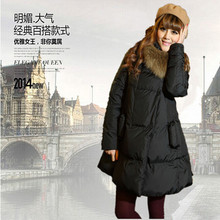 Free shipping Large fur collar long thermal outerwear white duck down coat 2015 thickening slim Cloak Down jacket XQ236(China (Mainland))