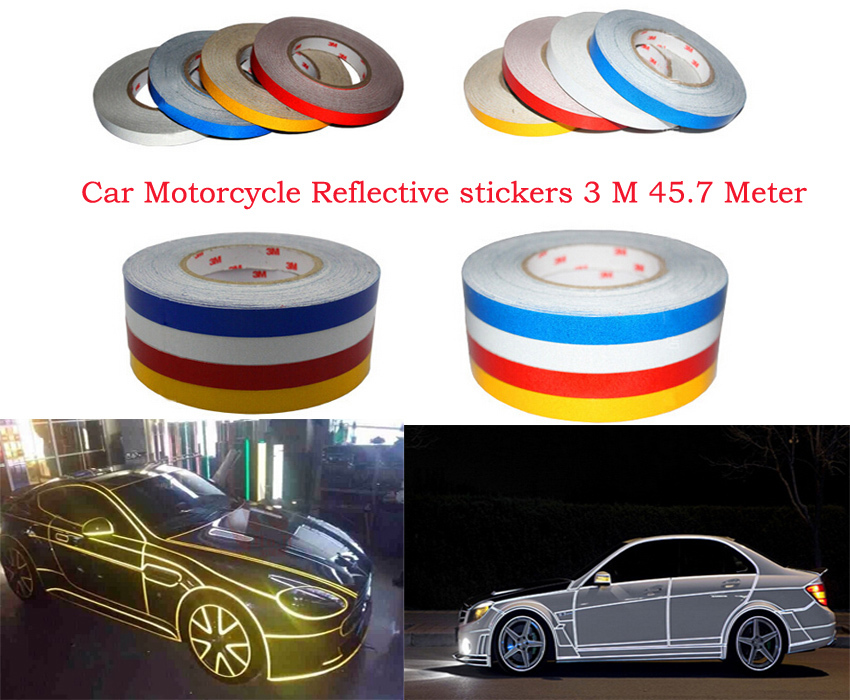 Free shipping DIY Authentic 3 M car Motorcycle reflective stickers Automobile warning stickers tape car change color stickers(China (Mainland))