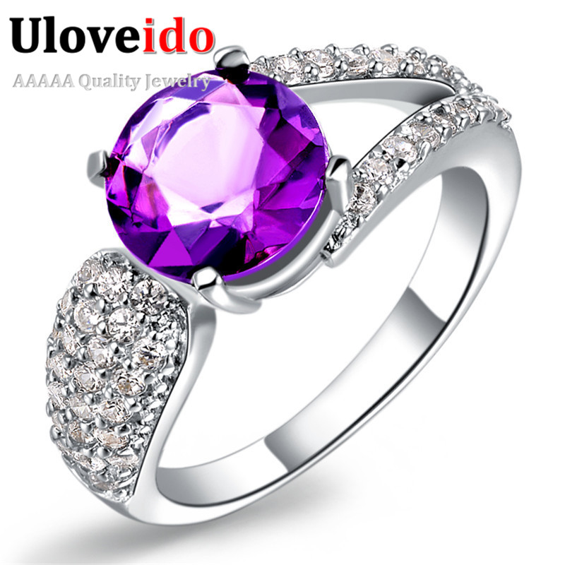 Sale Wedding Rings With Purple Stone For Women CZ Diamond Antique Silver Ring