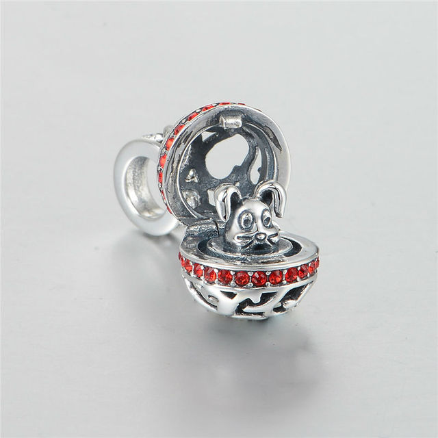 Серебро 925 бусины кролика из мяч животных шарм бусины с камнями женщин ювелирные изделия DIY подходит европейской пандора браслет и ожерелье