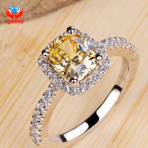 Luxury 2 Carat Yellow CZ Diamond Weddings Rings for Women Real 925 Sterling Silver Sona Simulated Diamond Jewelry Ring ZR129(China (Mainland))