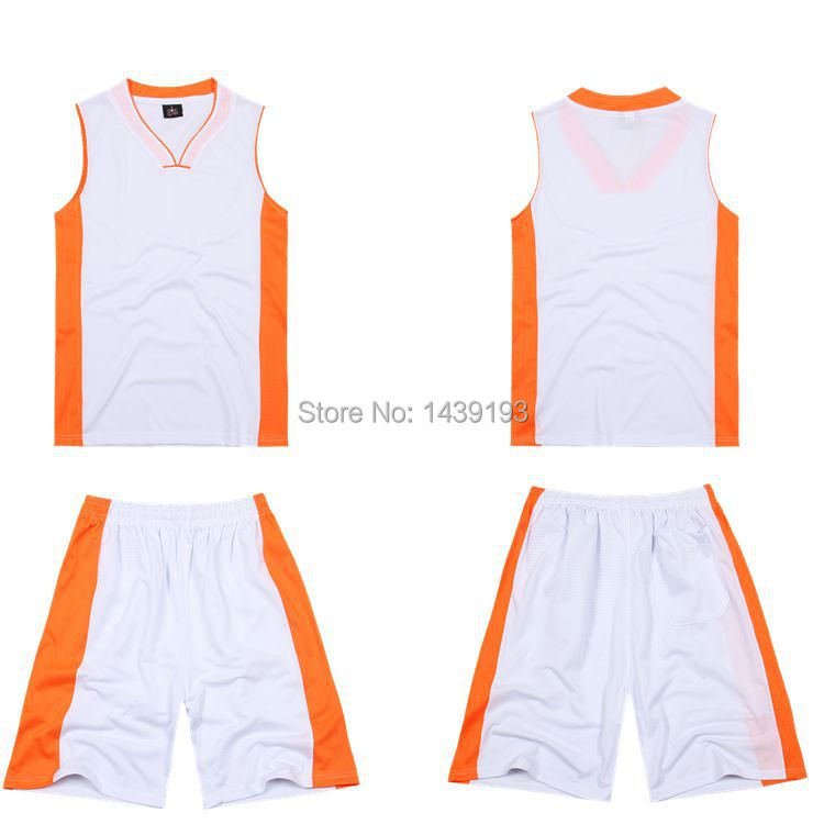 White with orange side plain jersey Printed design customic basketball jersey set for men quick-dry jersey basketball uniforms(China (Mainland))